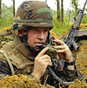Soldier Using A Ta-1 Sound Powered Poster
