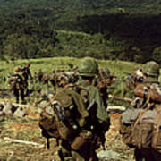Soldiers Descend The Side Of Hill 742 Poster