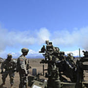 Soldiers Firing The M777 Howitzer Poster