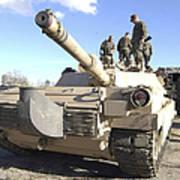 Soldiers Get Their Battletank Ready Poster