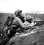 Soldiers Locate Enemy Position On A Map Poster