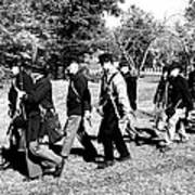 Soldiers March Black And White Poster