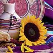 Southwestern Still Life With Sunflower Poster