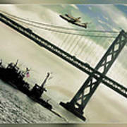 Space Shuttle And San Francisco Bay Bridge  Poster