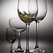 Splashing Wine In Wine Glasses Poster