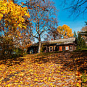 Splendor Of Autumn. Wooden House Poster