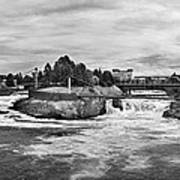 Spokane Falls From Lincoln Street Bridge In B And W Poster