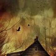 Spooky House At Sunset  Poster