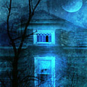 Spooky House With Moon Poster by Jill Battaglia
