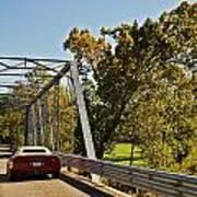 Sports Car On A Bridge Poster