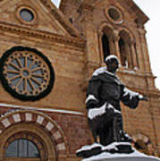 St Francis Cathedral In Santa Fe - Winter Poster
