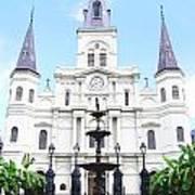 St Louis Cathedral And Fountain Jackson Square French Quarter New Orleans Film Grain Digital Art Poster