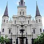 St Louis Cathedral And Fountain Jackson Square French Quarter New Orleans  Poster