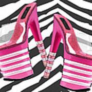 Stack 'em High Pink Platforms On Zebra Poster