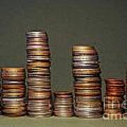 Stacks Of Various Currency Coins Poster
