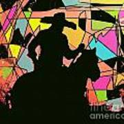 Stain Glass Cowboy Poster