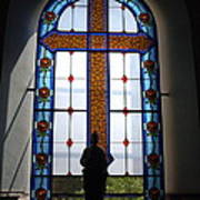 Stained Glass Cross Window Of Hope Poster