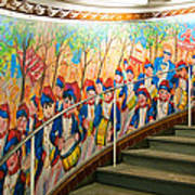 Stairway Mural At Montmartre Metro Exit Poster