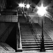 Stairway To Montmartre At Night Poster