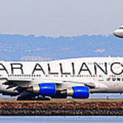 Star Alliance Airlines And United Airlines Jet Airplanes At San Francisco Airport Sfo . Long Cut Poster