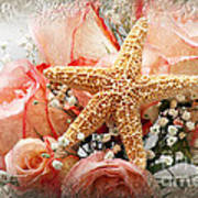 Starfish And Pink Roses Poster