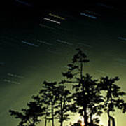 Startrails And Moonlit Fog, Canada Poster by David Nunuk
