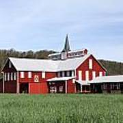 Stately Red Barn With Elongated Clerestory Cupola Poster by John Stephens