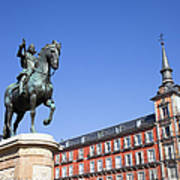 Statue Of King Philip IIi At Plaza Mayor Poster
