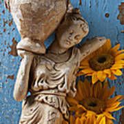 Statue Of Woman With Sunflowers Poster