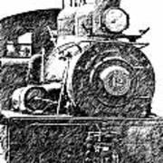 steam Engine pencil sketch Poster