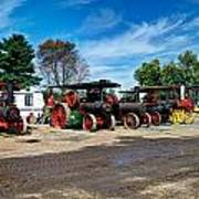 Steam Engines Lined Up Poster