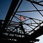 Steel Bridge With American Flag Poster
