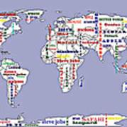 Steve Jobs Apple World Map Digital Art Poster