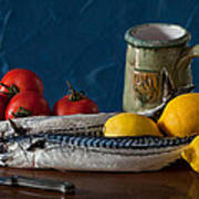 Still Life With Mackerels Lemons And Tomatoes Poster