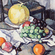 Still Life With Melons And Grapes Poster by Samuel John Peploe