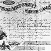 Stock Certificate, 1853 Poster
