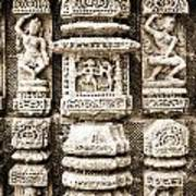 Stone Carvings In An Indain Temple Poster