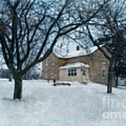 Stone Farmhouse In Winter Poster