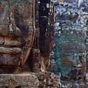 Stone Heads At Bayon Temple Poster