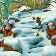 Stone Steps In Winter Poster
