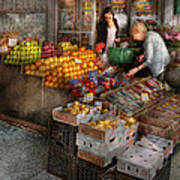 Storefront - Hoboken Nj - Picking Out Fresh Fruit Poster by Mike Savad