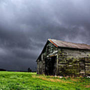 Stormy Barn Poster