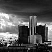Stormy Detroit Gm Building - Black And White Poster by Alanna Pfeffer