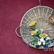 Straw Basket With Flowers Poster