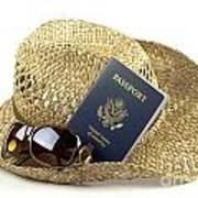 Straw Hat With Glasses And Passport Poster