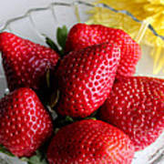 Strawberries And Yellow Mum Poster by Barbara Griffin