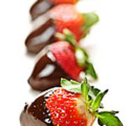 Strawberries Dipped In Chocolate Poster