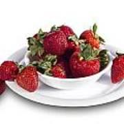 Strawberries In A White Bowl No.0029v1 Poster