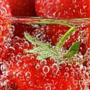Strawberries In Water Close Up Poster