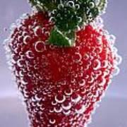 Strawberry In Soda Water Poster by Soultana Koleska